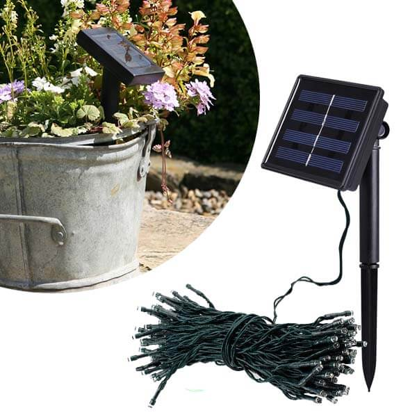 Napelemmel töltődő kerti fényfüzér