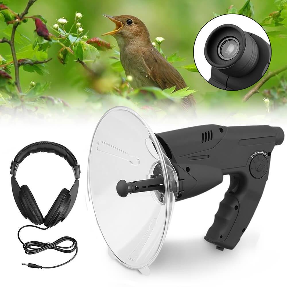 parabolikus mikrofon és fejhallgató