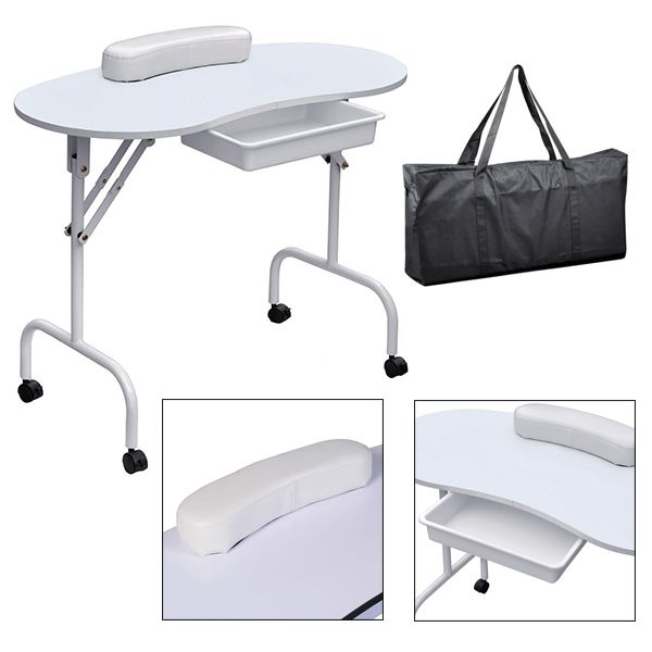 Hordozható manikűr asztal ajándék táskával , fiókos