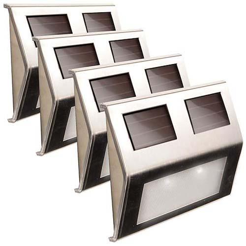 Falra szerelhető kültéri napelemes lámpa, 4 db