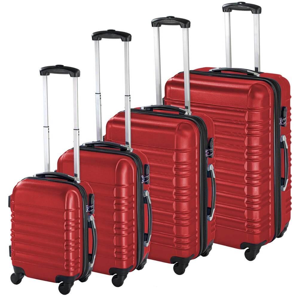 Gurulós bőrönd szett-piros
